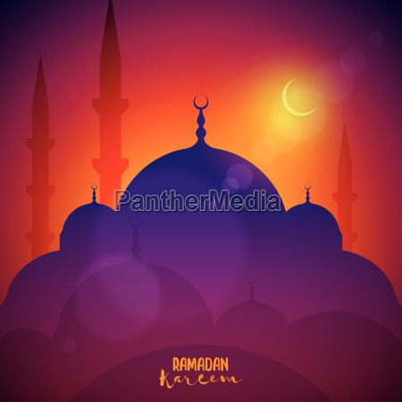 vector landscape with mosque elements are