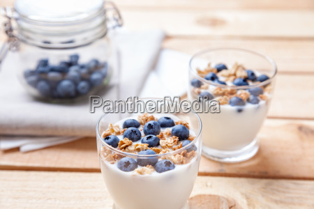 nutritious and healthy yogurt with blueberries