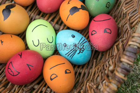 easter eggs with funny faces painted