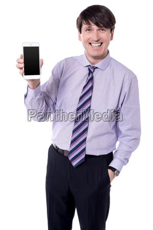 corporate executive displaying stylish cellphone