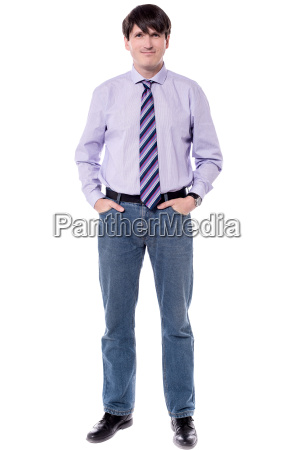male executive smiling at camera isolated