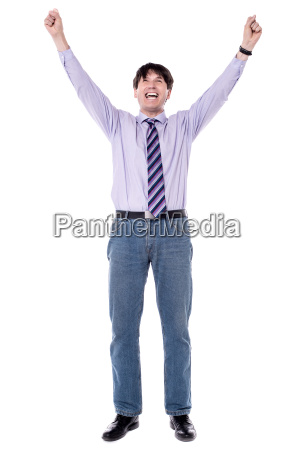 exited business with raised arms