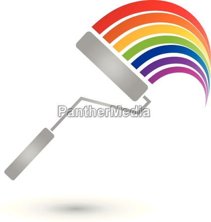 painting roller rainbow painter logo