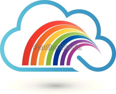 cloud and rainbow painter logo