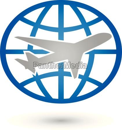 earth and airplane logo world globe