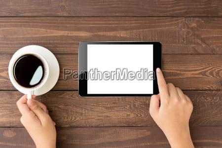 female toch on digital tablet blank