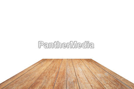 wooden table top isolated on white