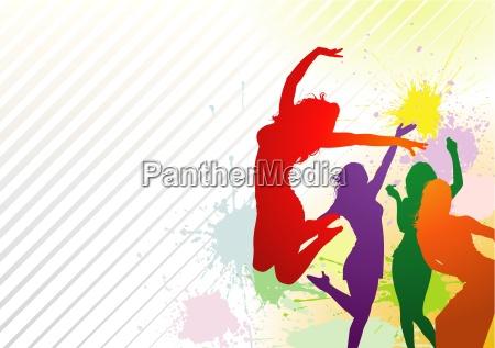 dancing colorful girls