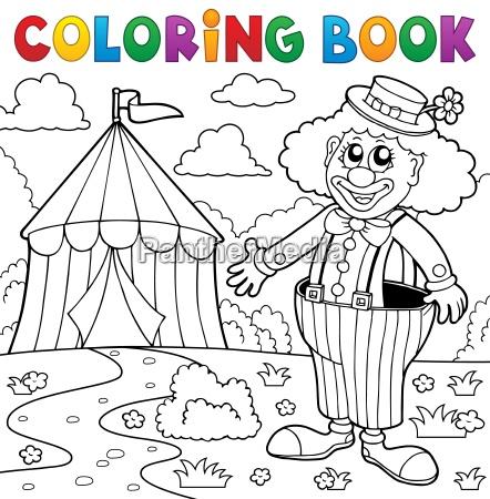coloring book clown near circus theme