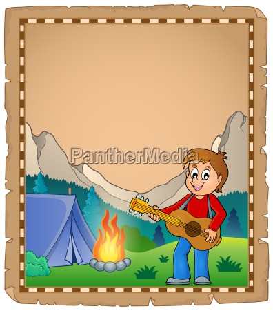 parchment with boy guitarist in camp
