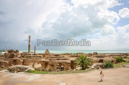 antonine baths with mediterranean sea