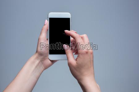 closeup shot of a woman typing