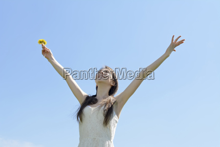 young woman cheers