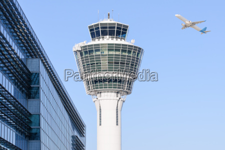 munich international airport control tower and