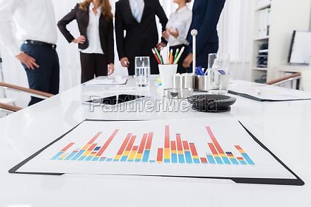 digital tablet and graph on desk