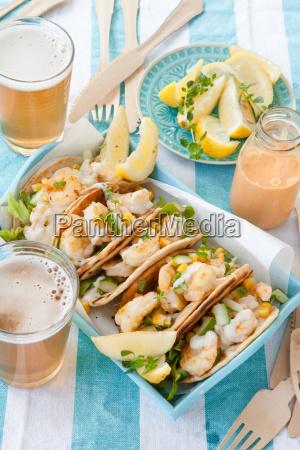 tortilla with shrimp and salad