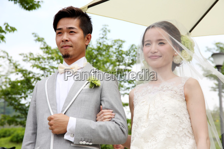young japanese bride and groom in