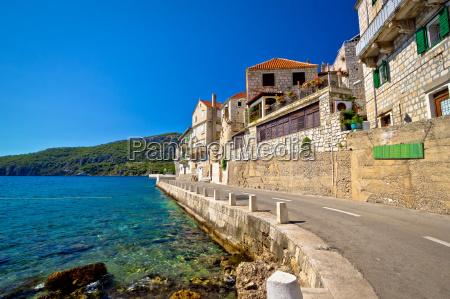 komiza on vis island waterfront street