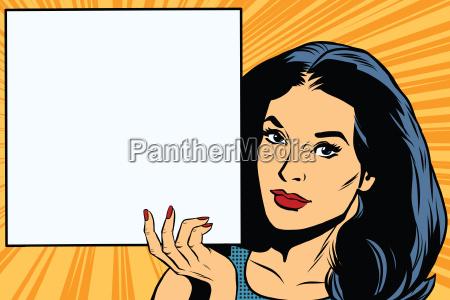 woman holding blank poster pop art