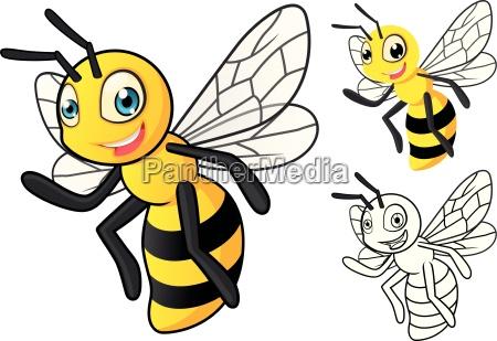 hochwertige detaillierte honig biene cartoon figur