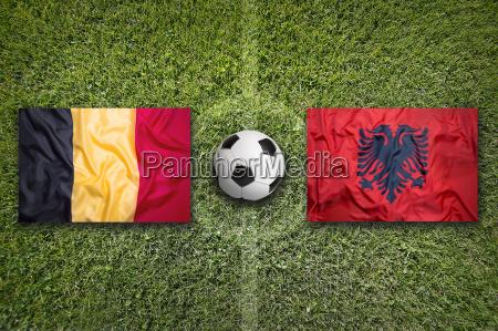 belgium vs albania flags on soccer