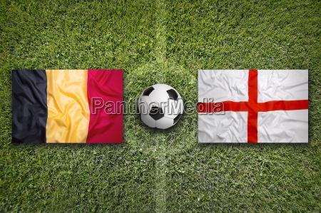 belgium vs england flags on soccer