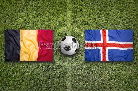 belgium vs iceland flags on soccer