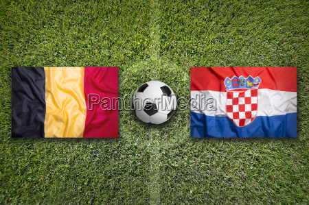 belgium vs croatia flags on soccer
