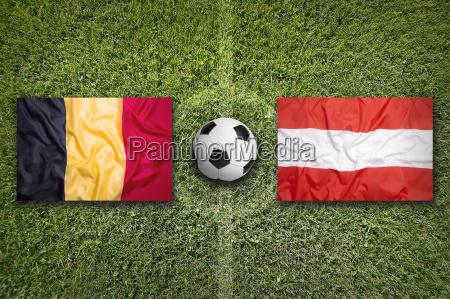 belgium vs austria flags on soccer