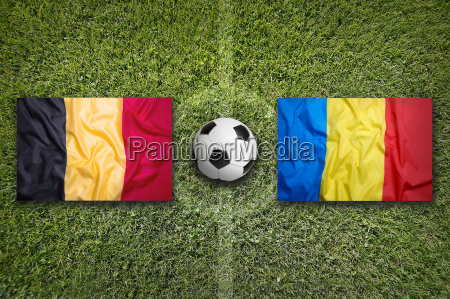 belgium vs romania flags on soccer