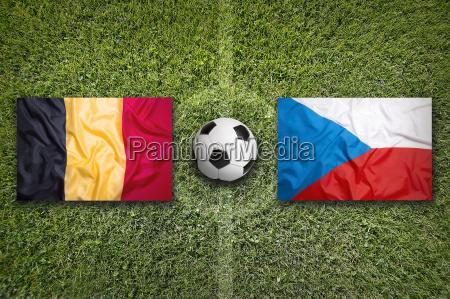belgium vs czech republic flags on