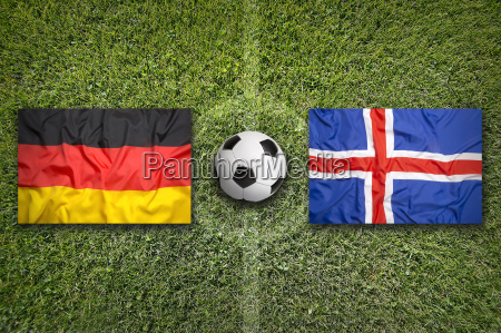 germany vs iceland flags on soccer