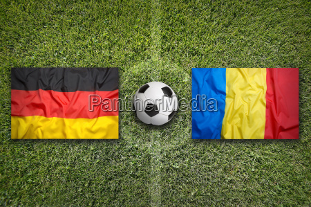 germany vs romania flags on soccer