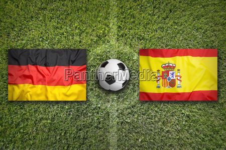 germany vs spain flags on soccer