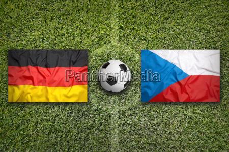 germany vs czech republic flags on