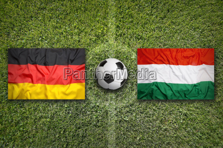 germany vs hungary flags on soccer