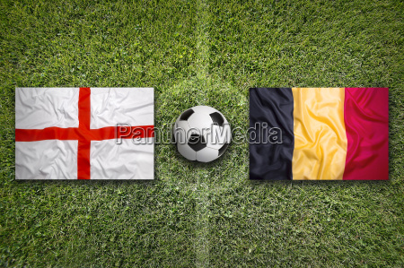 england vs belgium flags on soccer