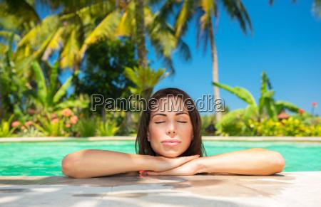 calm female in the pool