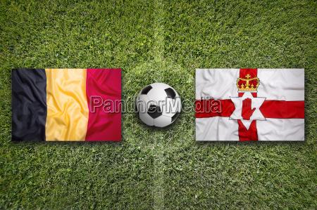 belgium, vs., northern, ireland, flags, on - 17369716