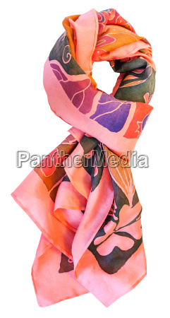 knotted batik silk pink scarf with