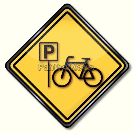 sign with bike and bike parking