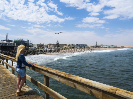 namibia swakopmund blond woman looking from