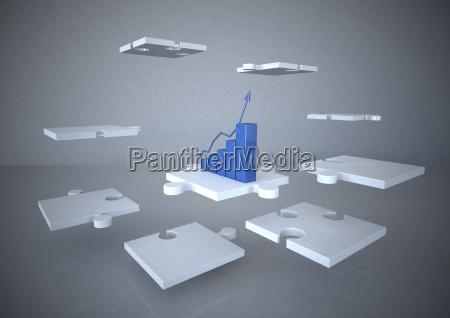 3d rendering business concept success growing