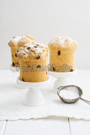 home baked mini panettone on white
