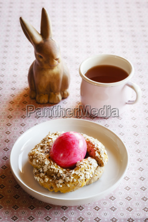 easter breakfast with pink coloured egg