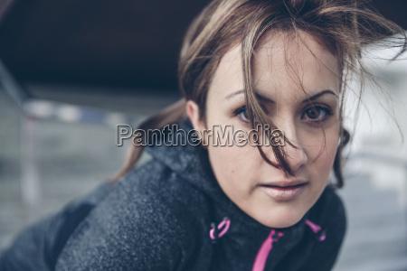 portrait of mid adult sportive woman