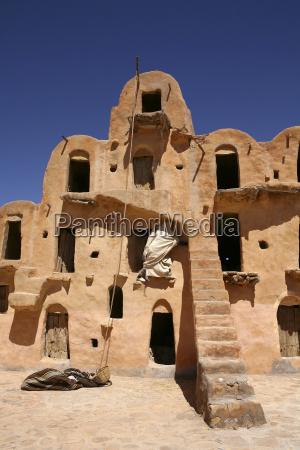 tunisia view to ghorfas of ksar