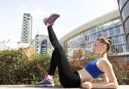 young woman doing workout in the