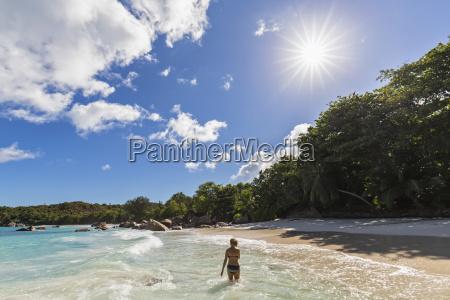 seychelles praslin anse lazio beach female