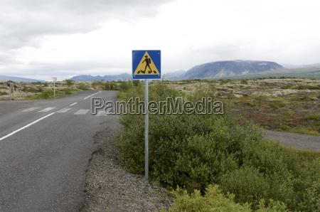 iceland thingvellir national park road sign